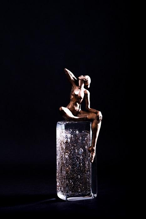 Danseuse sur les Toits - Œuvre à 4 mains Bronze et verre soufflé Antoine Pierini - 2020